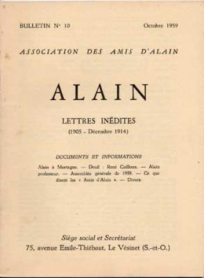 Alain Lettres inédites. Numéro 10. Octobre 1959