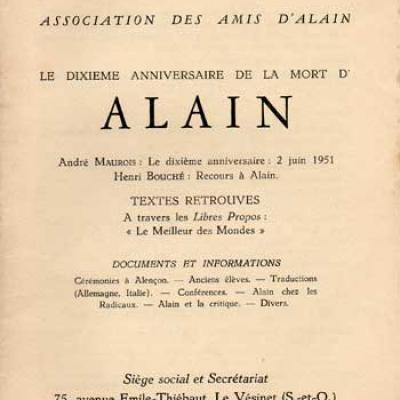 Alain Le dixième anniversaire de la mort d'Alain. Numéro 13. Mai-Juin 1961