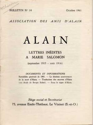 Alain Lettres inédites à Marie Salomon (septembre 1915-août 1916). Numéro 14. Octobre 1961