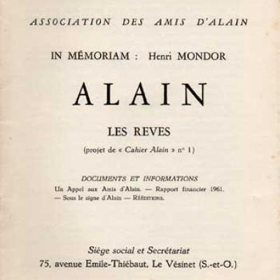 Alain Les rêves Numéro 15. Mai-Juin 1962