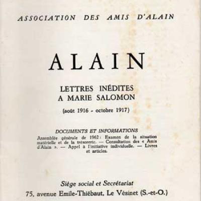 Alain Lettres inédites à Marie Salomon (août 1916-ocobre 1917). Numéro 16. Décembre 1962