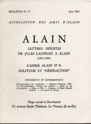 Alain Lettres inédites de Jules Lagneau à Alain. Numéro 17. Juin 1963