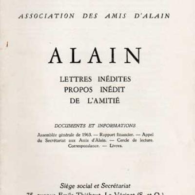 Alain Lettres inédites Propos inédit De l'amitié. Numéro 18. Décembre 1963