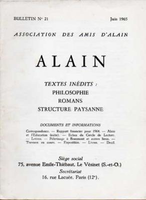Alain Textes inédits. Numéro 21. Juin 1965