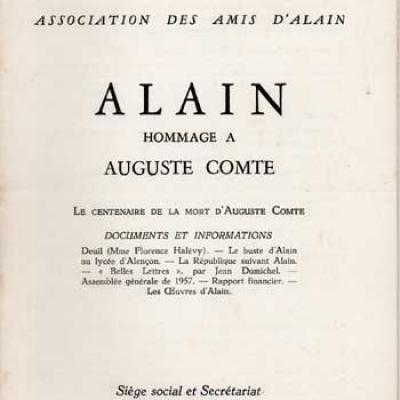 Alain Hommage à Auguste Comte. Bulletin numéro 6. Décembre 1957-Janvier 1958