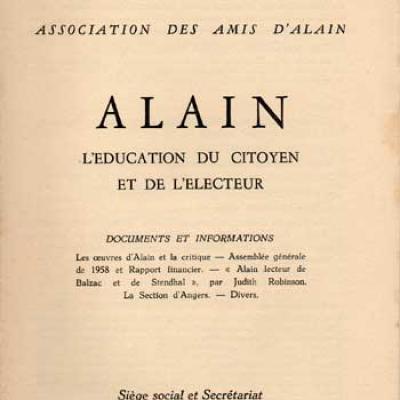 Alain L'éducation du citoyen et de l'électeur Numéros 7 et 8. Juin 1958