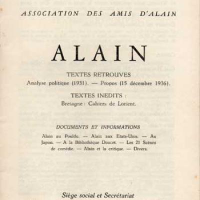 Alain Textes retrouvés Numéro 9. Février 1959