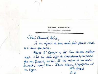 Payne Basil Voyage à deux Carte autographe de Pierre Emmanuel