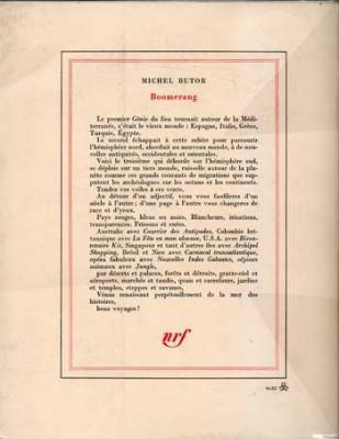 Boomerang. Le génie du lieu, 3. Par Michel Butor. Chez Gallimard. Edition originale
