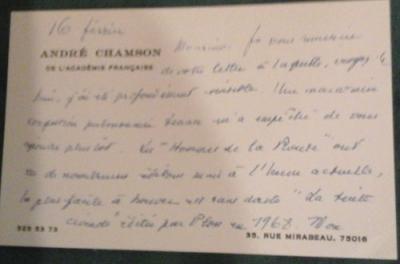 Chamson André Adeline Vénician Edition originale On joint un mot manuscrit de l'auteur