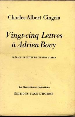 Cingria Charles-Albert Vingt-cinq lettres à Adrien Bovy