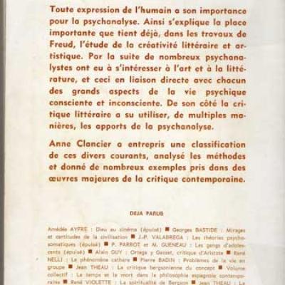 Psychanalyse et critique littéraire par Anne Clancier