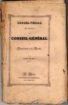 Procès-verbal des séances du conseil-général du département de la Sarthe. 1838