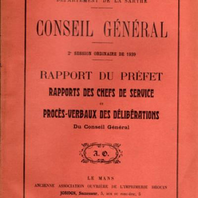 Département de la Sarthe. Conseil général. 2ième session ordinaire de 1939