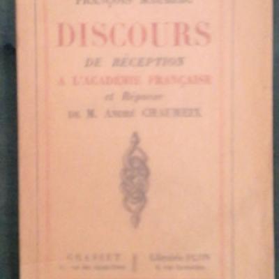 Mauriac F. Discours de réception à l'Académie française