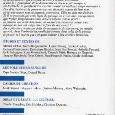 Revue Europe Jean Jacques Rousseau L.S.Senghor