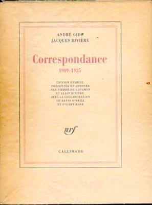 Gide André Rivière Jacques Correspondance 1909-1925