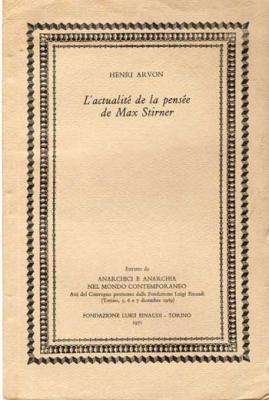 L'actualité de la pensée de Max Stirner par Henri Arvon