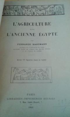 Hartmann F. L'agriculture dans l'ancienne Egypte