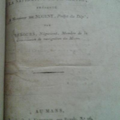 Lerebours Mémoire sur la navigation de la Sarthe
