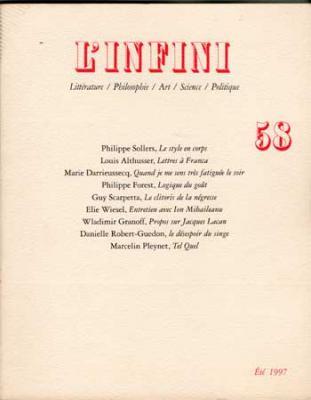 Revue L'infini Numéro 58. Louis Althusser, Lettres à Franca