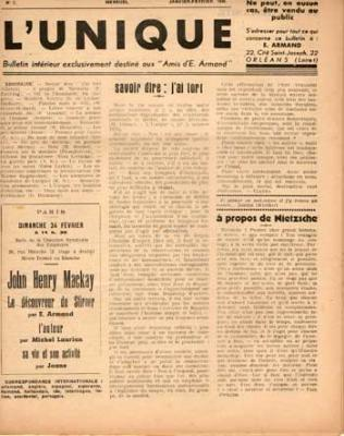 L'Unique E.Armand Numéro 7 Janvier-février 1946