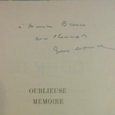 Supervielle Oublieuse mémoire Signature manuscrite de l'auteur VENDU