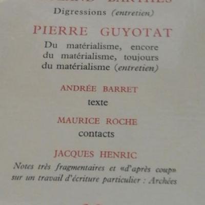 Revue Promesse Roland Barthes Pierre Guyotat Numéro 29