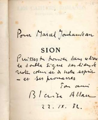 Allan Blaise Sion Poème Envoi à Marcel Jouhandeau