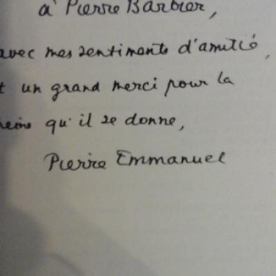 Emmanuel Pierre Tristesse O ma patrie Envoi de l'auteur à Pierre Barbier